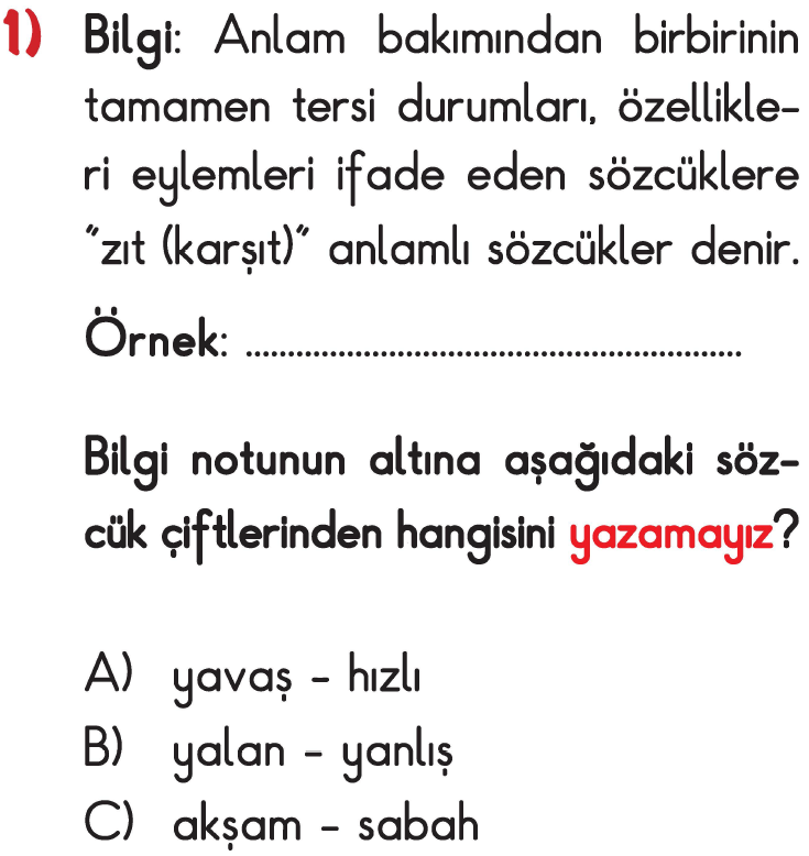 3 Sinif Turkce Zit Anlamli Kelimeler Testi Coz Test Coz
